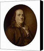 Inventors Canvas Prints - Benjamin Franklin Canvas Print by War Is Hell Store
