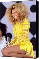 2010s Fashion Canvas Prints - Beyonce Knowles Wearing A Julien Canvas Print by Everett