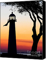 Joan Mccool Canvas Prints - Biloxi Lighthouse at Dusk Canvas Print by Joan McCool