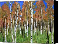 Country Scenes Painting Canvas Prints - Birch Wood Grove Canvas Print by James DRYSDALE