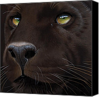 Soulful Canvas Prints - Black Leopard Canvas Print by Jurek Zamoyski