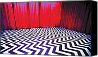 David Lynch Canvas Prints - Black Lodge Canvas Print by Luis Ludzska