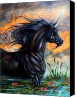 Black Unicorn Canvas Prints - Black Majik Canvas Print by Billy Leslie