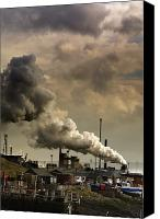 Responsibility Canvas Prints - Black Smoke Emitting From Factory Canvas Print by John Short