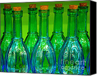 Ranjini Kandasamy Canvas Prints - Blue bottles Canvas Print by Ranjini Kandasamy