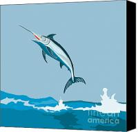 Marlin Canvas Prints - Blue Marlin Fish Jumping Retro Canvas Print by Aloysius Patrimonio