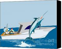 Marlin Canvas Prints - Blue marlin jumping Canvas Print by Aloysius Patrimonio