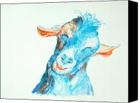 Goat Pastels Canvas Prints - Blue Nanny Canvas Print by Diane Kraudelt