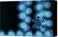 Christmas Canvas Prints - Blue snowflake Canvas Print by Jouko Mikkola
