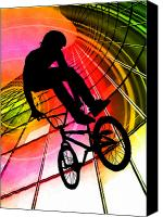 Teenager Tween Silhouette Athlete Hobbies Sports Canvas Prints - BMX in Lines and Circles Canvas Print by Elaine Plesser