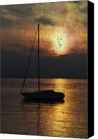 Lago Canvas Prints - Boat In Sunset Canvas Print by Joana Kruse