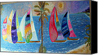 Impasto Reliefs Canvas Prints - Boats at sunset Canvas Print by Vicky Tarcau