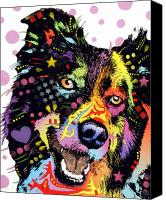 Animal Art Mixed Media Canvas Prints - Border Collie Canvas Print by Dean Russo