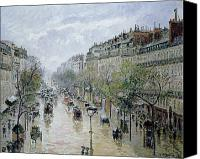 Lamps Painting Canvas Prints - Boulevard Montmartre Canvas Print by Camille Pissarro