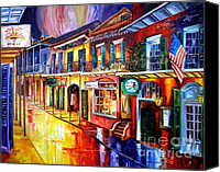 Balconies Canvas Prints - Bourbon Street Red Canvas Print by Diane Millsap