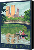 Couples Digital Art Canvas Prints - Bow Bridge in Central Park Canvas Print by Mitch Frey