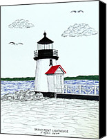 Realism Canvas Prints - Brant Point Lighthouse Canvas Print by Frederic Kohli