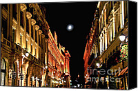 Old Houses Canvas Prints - Bright moon in Paris Canvas Print by Elena Elisseeva
