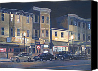Boston Painting Canvas Prints - Broadway Nocturne Canvas Print by Deb Putnam