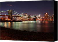 Nyc Photo Canvas Prints - Brooklyn Bridge Nights Canvas Print by Nina Papiorek