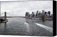 Manhattan Pastels Canvas Prints - Brooklyn Bridge  Canvas Print by Stefan Kuhn