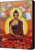 Tibetan Buddhism Painting Canvas Prints - Buddha Canvas Print by Yuliya Glavnaya