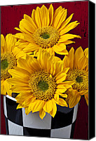 Vases Canvas Prints - Bunch of Sunflowers Canvas Print by Garry Gay