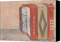 Button Painting Canvas Prints - Button Accordion Four Canvas Print by Ken Powers