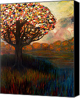 Button Painting Canvas Prints - Button tree 0001 Canvas Print by Monica Furlow