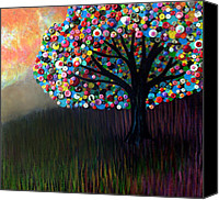 Button Painting Canvas Prints - Button tree 0004 Canvas Print by Monica Furlow