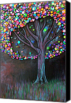 Button Painting Canvas Prints - Button tree 0006 Canvas Print by Monica Furlow