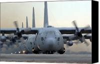 Aircraft Photo Canvas Prints - C-130 Hercules Aircraft Taxi Canvas Print by Stocktrek Images