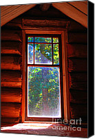 Log Cabin Mixed Media Canvas Prints - Cabin Window Canvas Print by Bill  Thomson