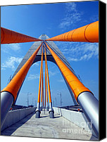 Lamppost Canvas Prints - Cable Stayed Bridge with Orange Clad Cables Canvas Print by Yali Shi