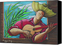Puerto Rico Drawings Canvas Prints - Cancion para mi tierra Canvas Print by Oscar Ortiz