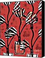 Stripes Mixed Media Canvas Prints - Candy Stripe Tulips 2 Canvas Print by Sarah Loft