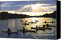 Skyscape Canvas Prints - Canoeing Canvas Print by Elena Elisseeva