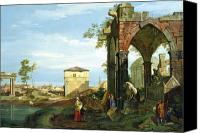Ruin Painting Canvas Prints - Capriccio with Motifs from Padua Canvas Print by Canaletto