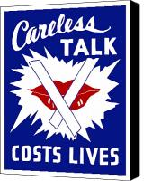 Talk Canvas Prints - Careless Talk Costs Lives  Canvas Print by War Is Hell Store