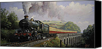 Train Painting Canvas Prints - Castle on Broadsands viaduct Canvas Print by Mike  Jeffries