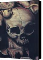 Skull Pastels Canvas Prints - Catacomb Canvas Print by Joe Dragt