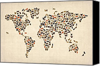 Map Art Digital Art Canvas Prints - Cats Map of the World Map Canvas Print by Michael Tompsett