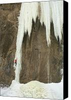 Reaching Canvas Prints - Caucasian Male Ice Climbing In Wyoming Canvas Print by Bobby Model