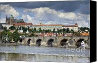 Vltava Canvas Prints - Charles Bridge and Prague Castle Canvas Print by Andre Goncalves