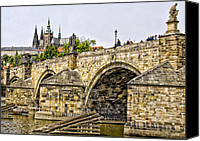 Charles Bridge Canvas Prints - Charles Bridge and Prague Castle Canvas Print by Jon Berghoff