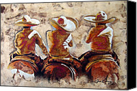 Handmade Paper Canvas Prints - Charros Canvas Print by Juan Jose Espinoza