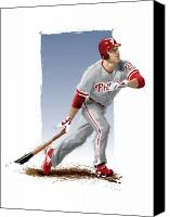 Chase Utley Canvas Prints - Chase Utley Canvas Print by Scott Weigner