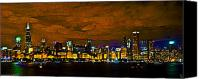Chicago Skyline Digital Art Canvas Prints - Chicago Canvas Print by Byron Fli Walker