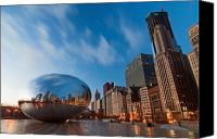 Skyline Canvas Prints - Chicago Skyline and bean at sunrise Canvas Print by Sven Brogren