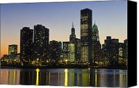 Sears Tower Canvas Prints - Chicago Skyline At Night Canvas Print by Axiom Photographic